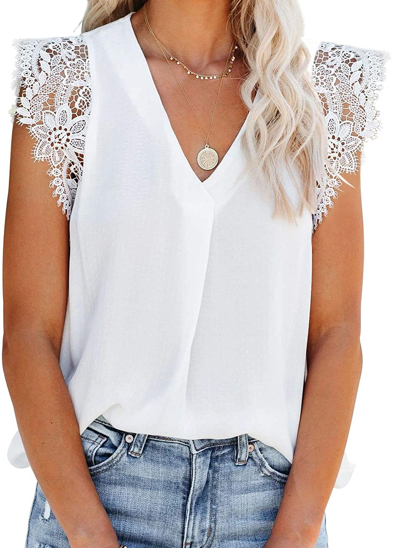Aleumdr Womens Crochet Lace Tank Top Loose Camisole Vests Shirt