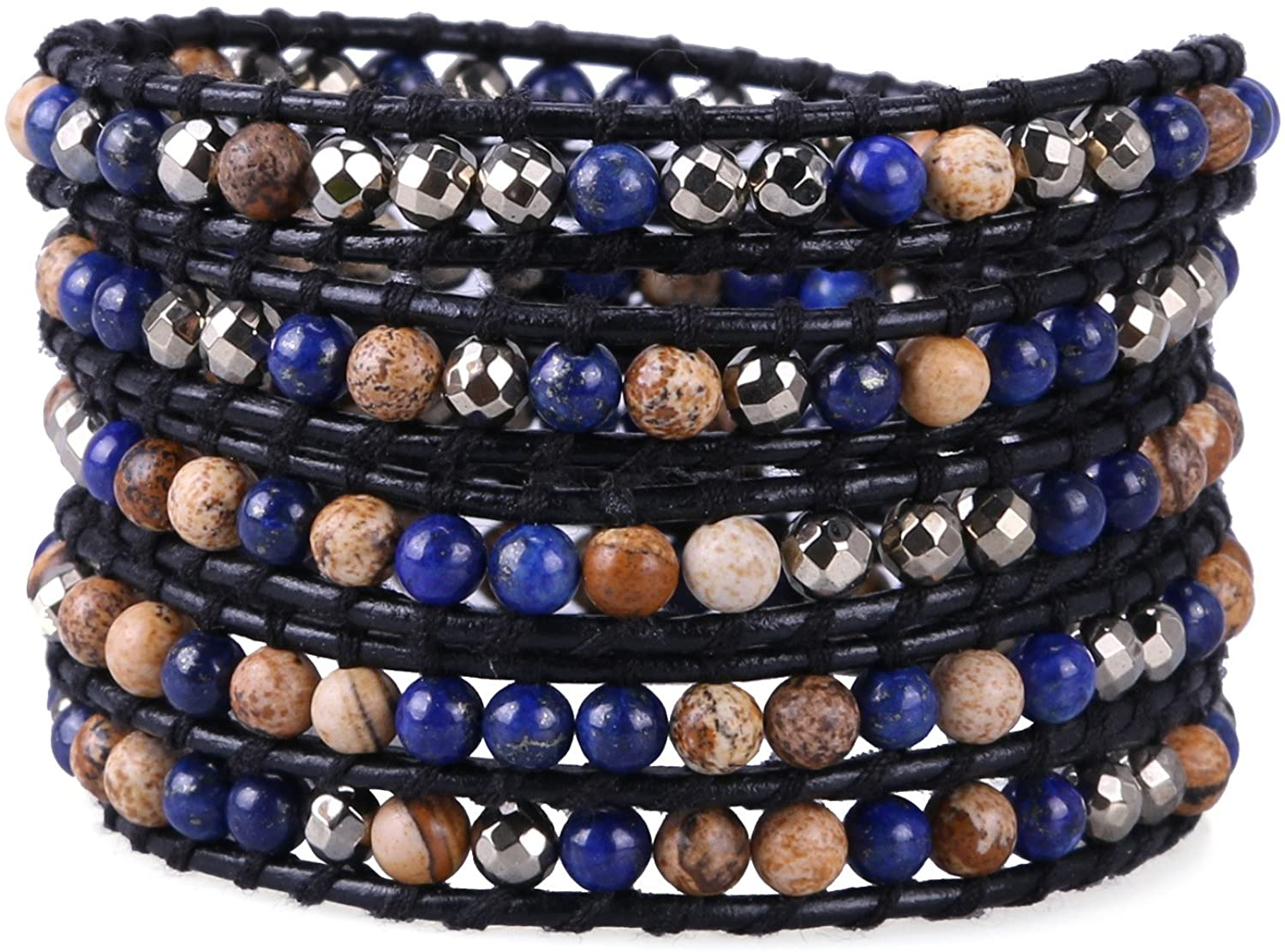 KELITCH Created Lapis Lazuli Beads Bracelet Multi Strands Handmade Woven Bangle (Lapis)