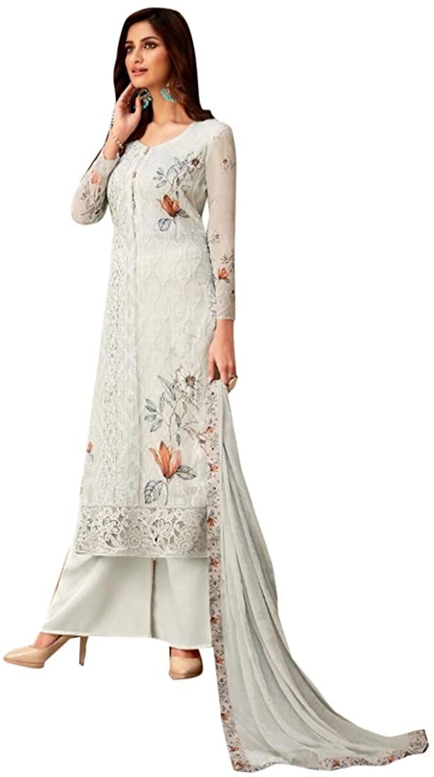 White Bollywood Indian Ethnic Designer Straight Salwar Kameez Suit Dupatta With Embroidery work dress material/Semi Stitched Dress Punjabi Muslim 9113
