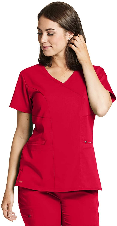 Grey's Anatomy GRST001 Women's Kim Scrub Top Scarlet Red M
