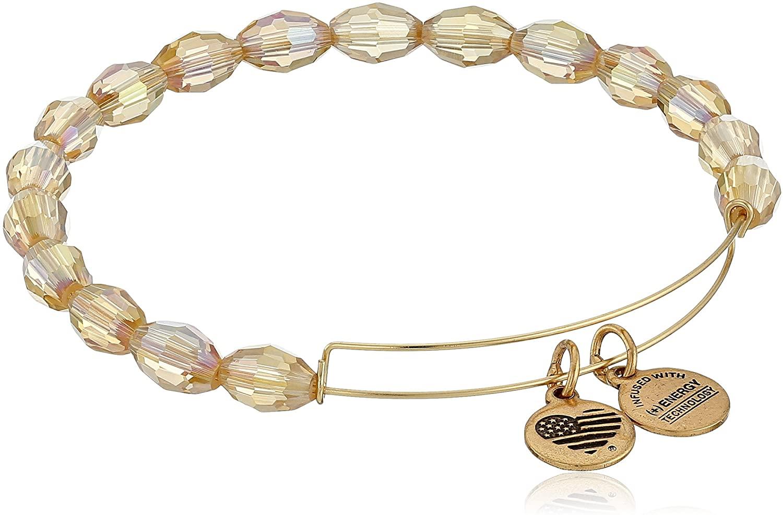 Alex and Ani Serenity Expandable Mellow Amber Rafaelian Gold-Tone Bangle Bracelet