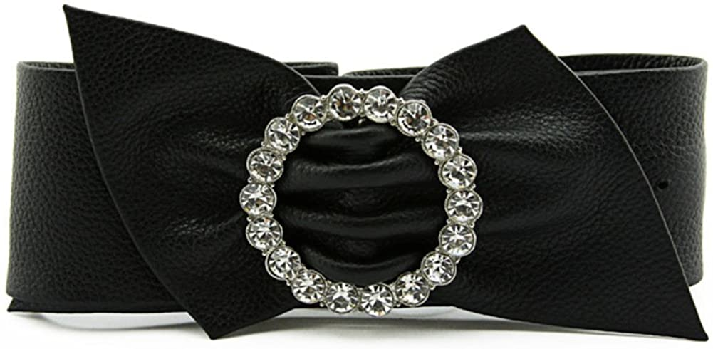 Ladies Wild Width Belt,Stylish Rhinestone Bow Belt Distribution Dress Decoration Belt