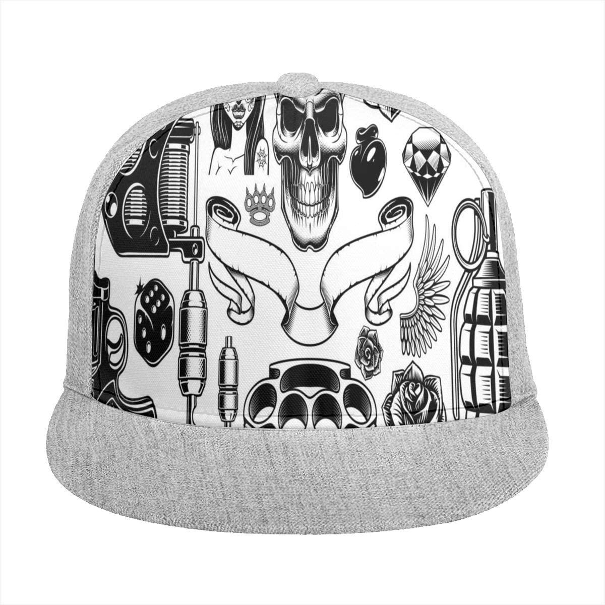 Sun Visor Hat Tattoo Art Baseball Cap Flat Brim Hat for Women Men Summer