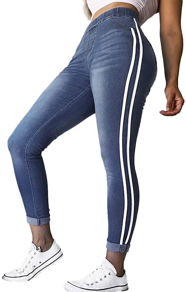 ZEFOTIM Women Autumn Elastic Plus Tight Feet Loose Denim Ribbon Casual Jeans