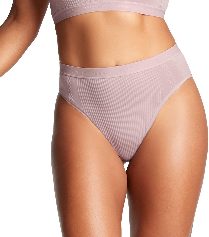 Yummie Women's Gemma Ribbed Smoothing High Leg Brief W/Logo