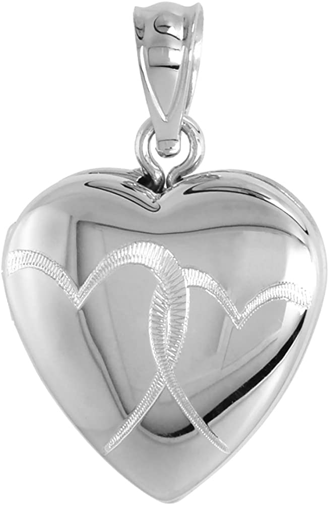 Small 5/8 inch Sterling Silver Interlocking Hearts Locket Necklace for Women Heart Shape 16-20 inch