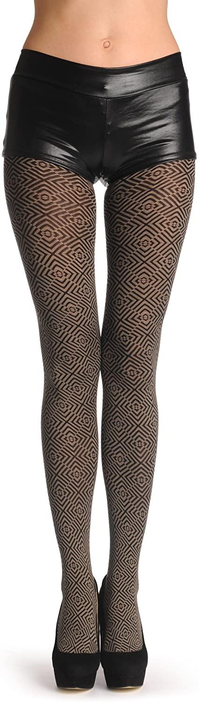 Black & Grey Crossing Rombs 80 Den - Pantyhose
