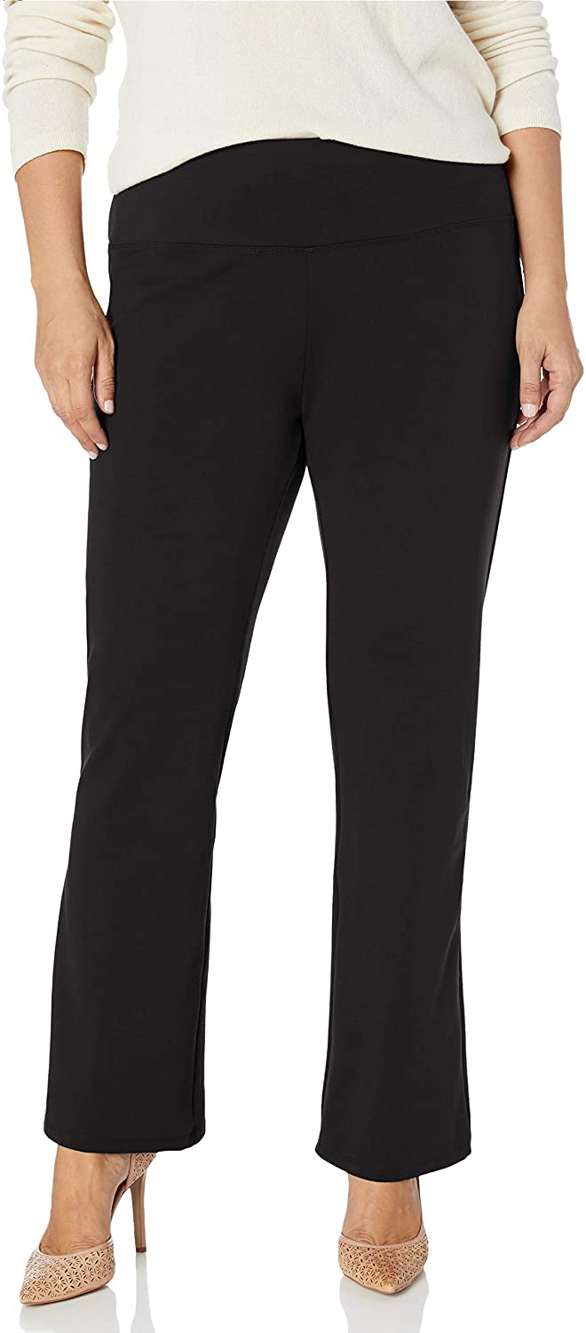 SLIM-SATION Women's Plus Size Wide Band Pull-on Solid Knit Ankle Legging