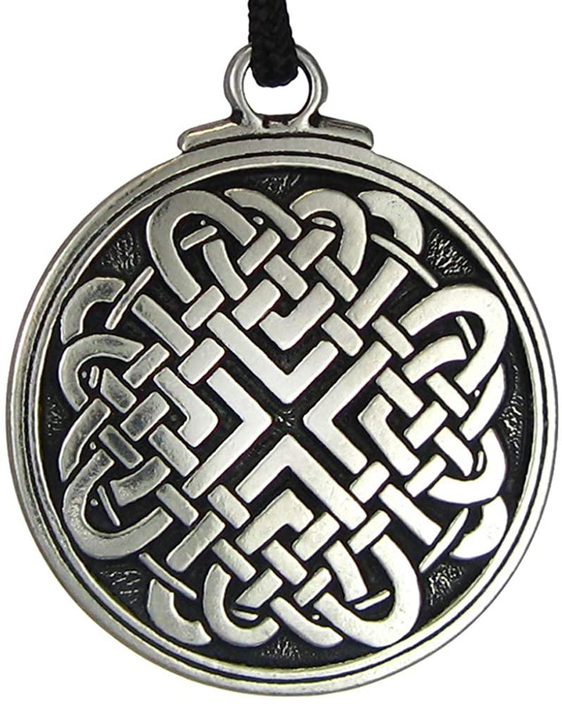 Pewter Celtic Love Knot Woven Heart Pendant - 1.5 Inch Diameter