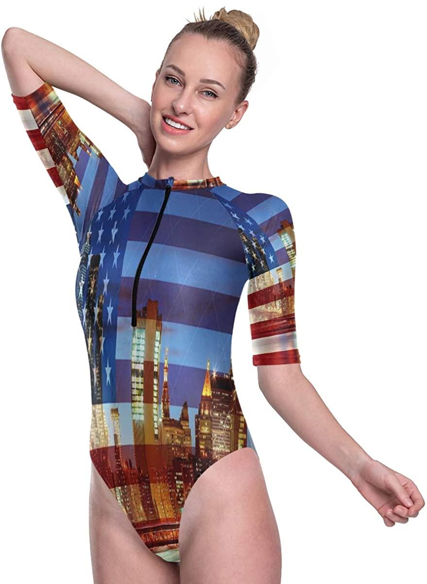 SLHFPX Women's One Piece Short Sleeve Rashguard Surf Swimsuit American Flag New York City Bathing Suit