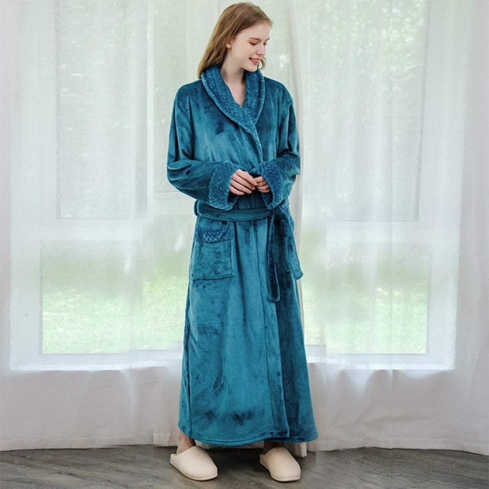 llwannr Bathrobe Robe Nightgown Sleep,Women Winter Super Soft Warm Plus Long Bath Robe Lovers Plush Kimono Bathrobe Men Dressing Gown Wedding Bridesmaid Robes,Women Blue,M