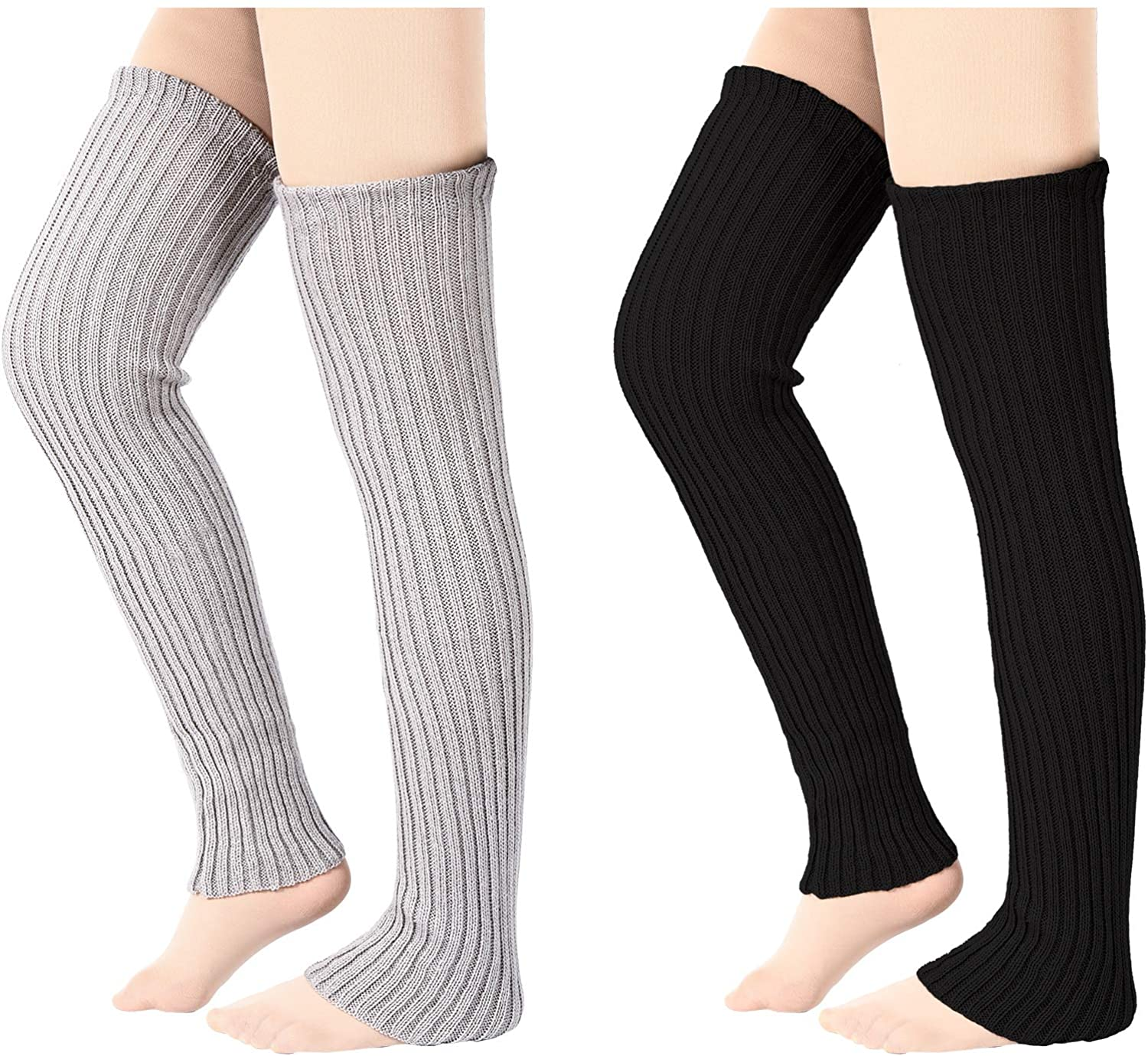 2 Pairs Winter Knit Leg Warmers Thigh High Footless Leg Warmers for Women