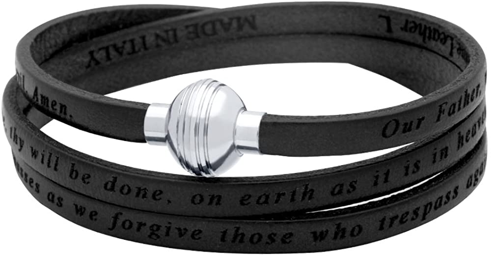 Lord's Prayer Engraved Leather WRAP Bracelet - Black (7.5 Inches)