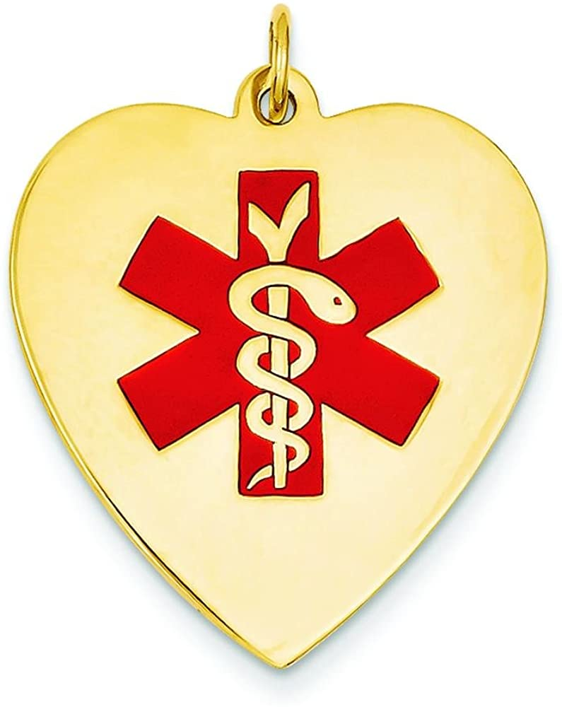 14K Gold Heart Enamel Medical ID Charm Jewelry 33mm