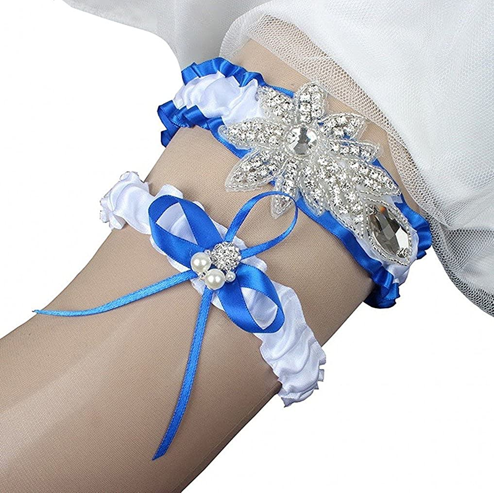 Belyee 2018 Women's Satin Wedding Garter Set for Bride Stretchy Leg Prom Garters