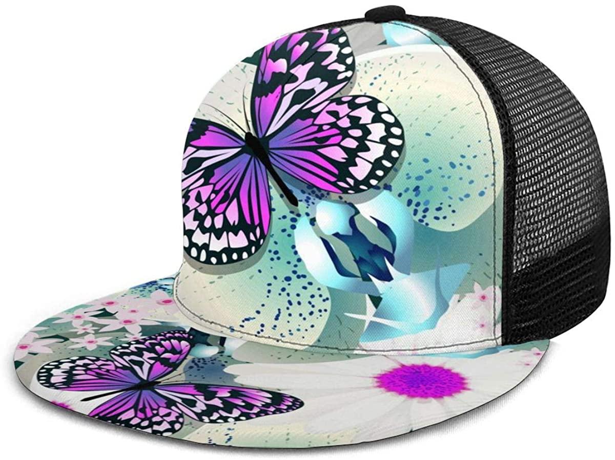 Flat Brim Hat Beautiful Happy Cute Cat Baseball Cap Snapback Sun Visor Hat for Women Men