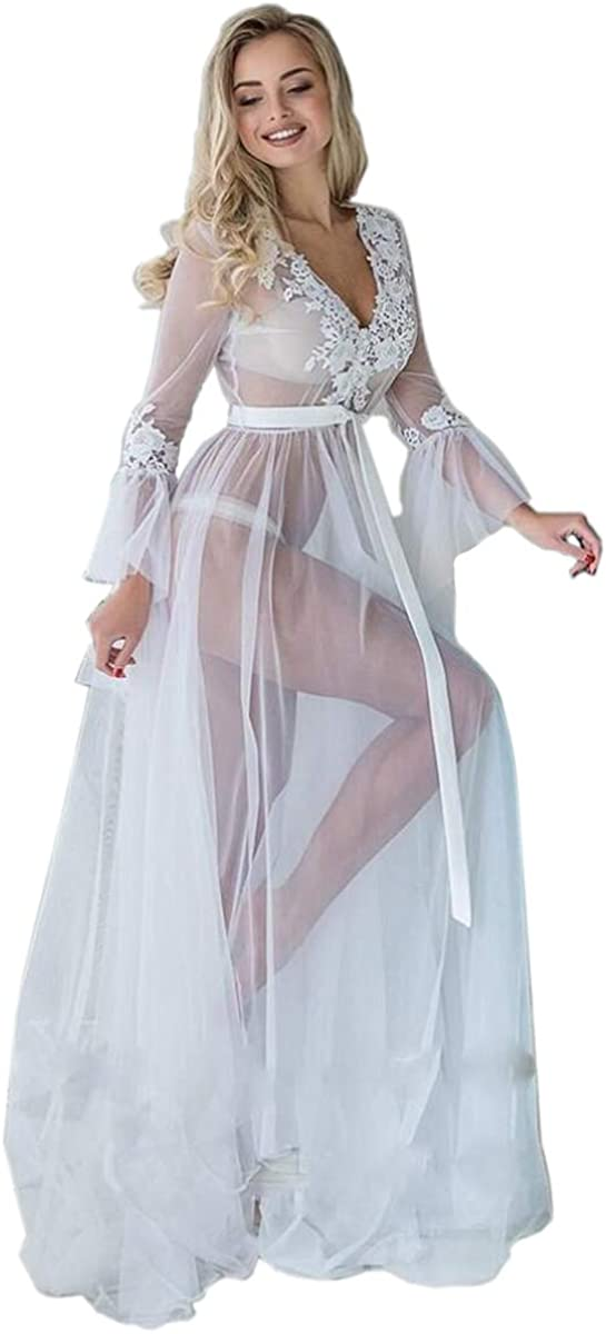 Women's Lace Tulle Lingerie Sexy Long Lace Dress Sheer Gown See Through Kimono Robe