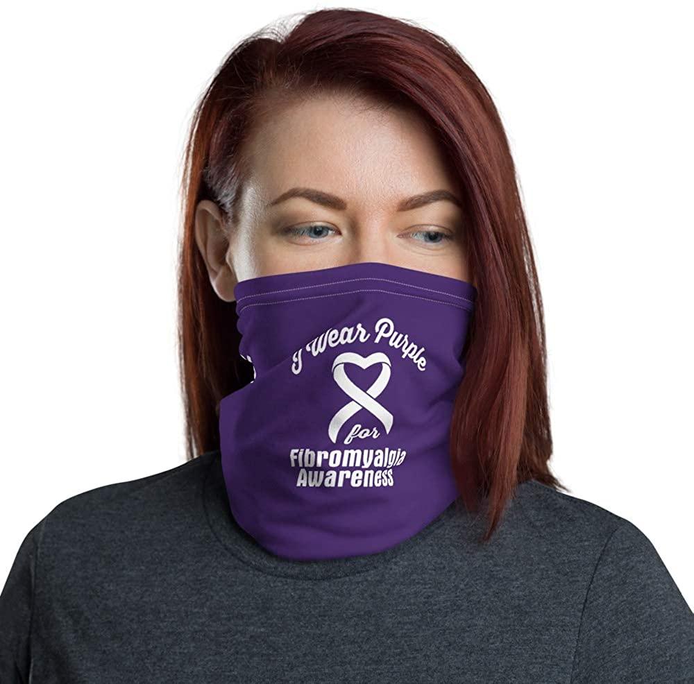 I Wear Purple For Fibromyalgia Awareness Face Mask Neck Gaiter Reusable Washable