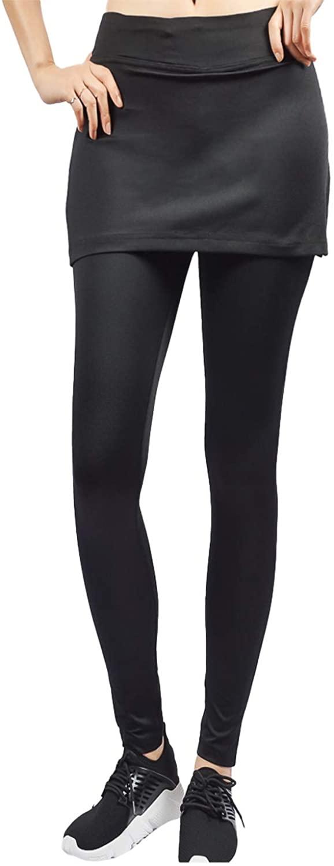 Again 1231 Skirted Leggings for Golf Tennis Yoga Ruffle Mini Skirt Built-in Leggings