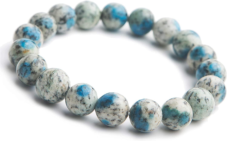 Genuine Natural K2 Granite Azurite Gemstone Round Beads Stretch Bracelet 10mm