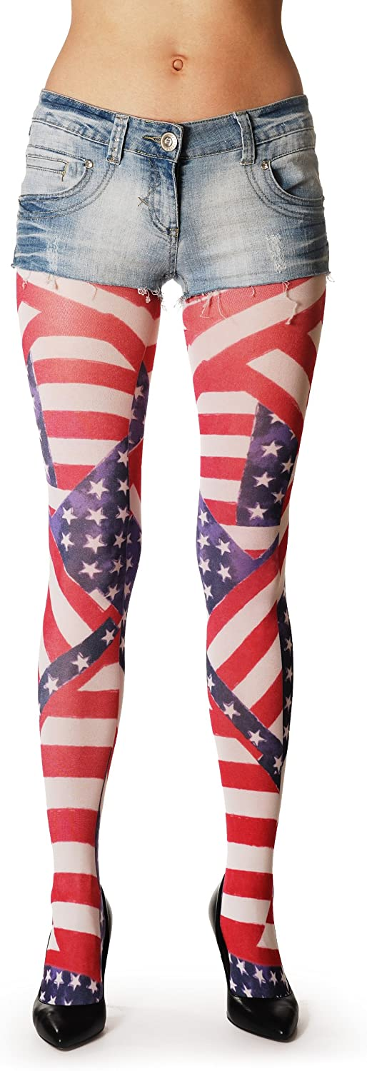 American Flag – Multicolored Opaque Printed Pantyhose (Tights)