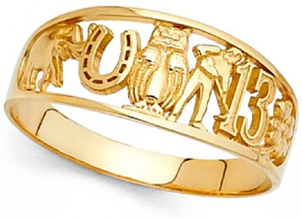 GemApex Good Luck Charm Ring 14k Yellow Gold Owl Clover 13 Elephant Horseshoe Band Lucky Symbols 8MM