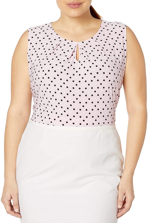 Kasper Women's Polka Dot Printed Knit Cami with Keyhole Detail
