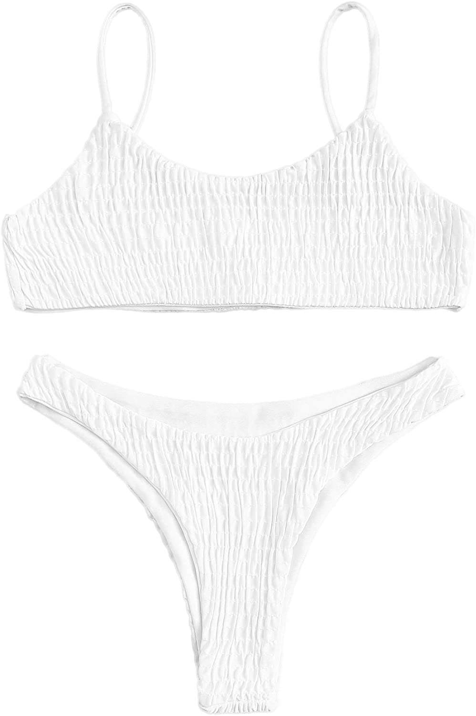 SweatyRocks Women's Two Piece Shirred Bikini Set Solid Spaghetti Strap Bathing Suits