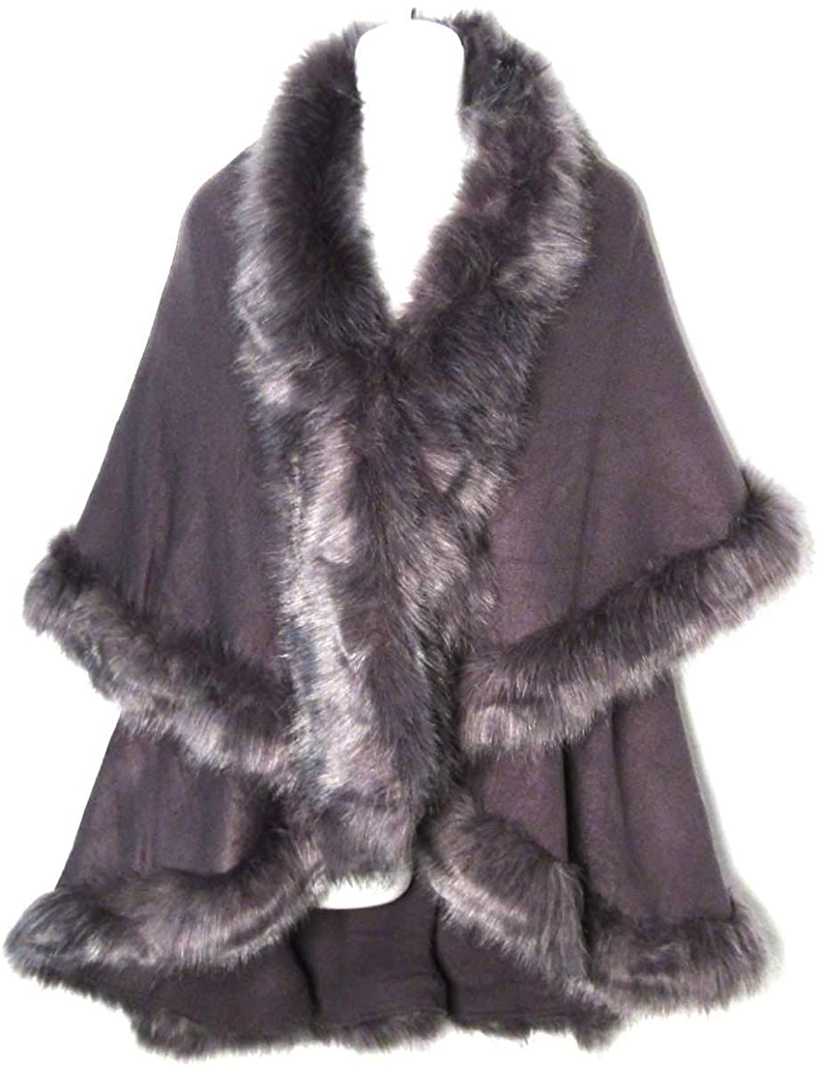 Tigerstars Luxurious Gray Faux Fur Poncho Cape Wrap