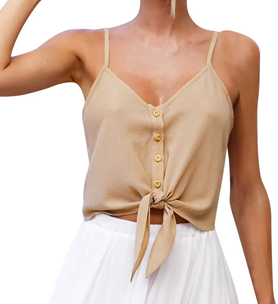 Tank Tops for Women Spaghetti Strap,Summer Casual V Neck Buttons Down Tie Front Sleeveless Crop Cami Tops Camisole