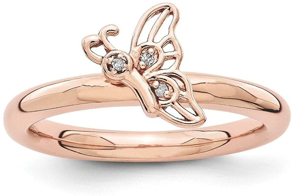 Sterling Silver Stackable Expressions Pink-plated Butterfly with Diamond Ring Size 7