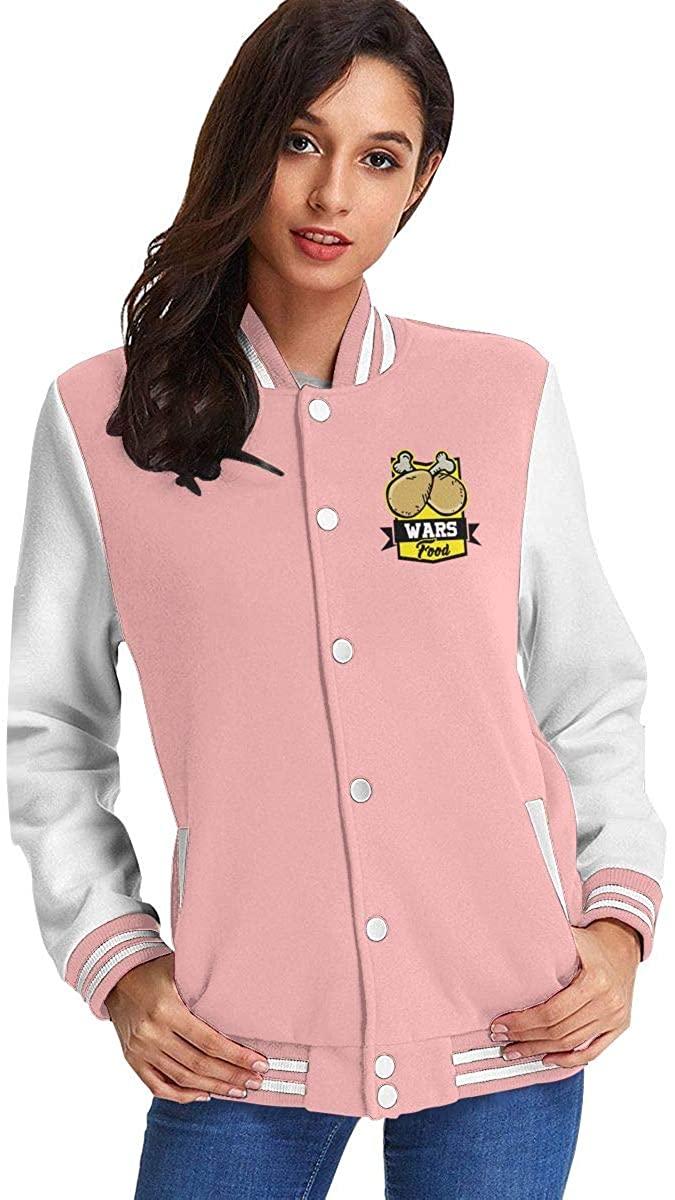 Amy J Nace Food Wars Women's Fashion Stand Collar Casual Jacket Baseball Button Jacket Coat Sweater