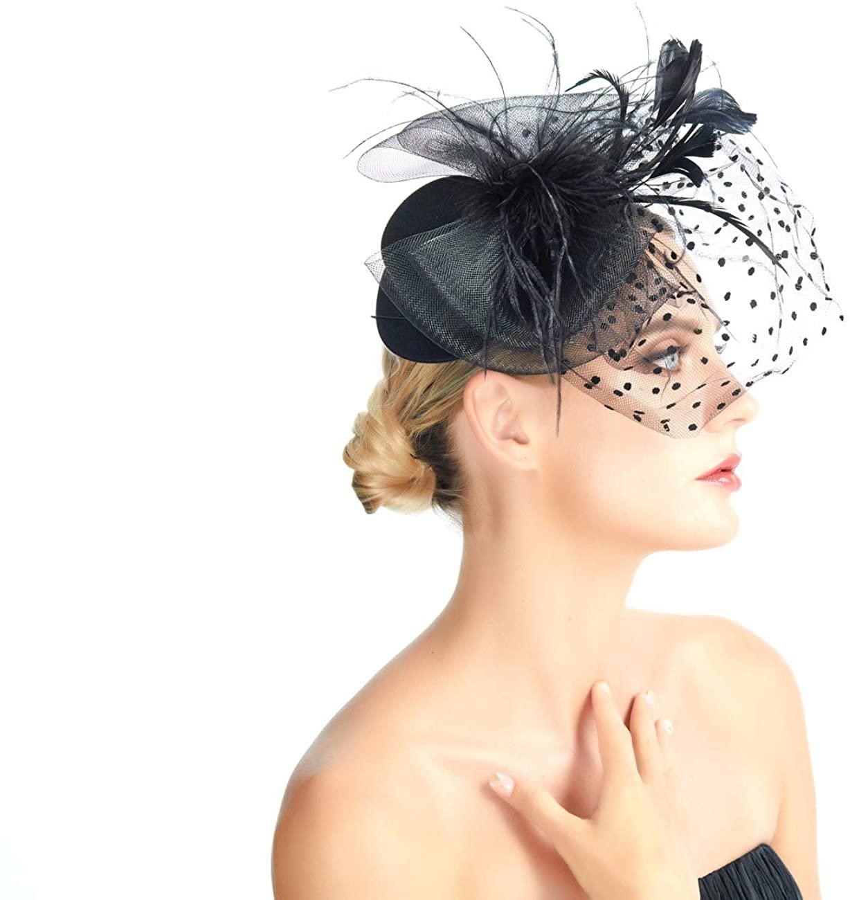 Mini Top Hat Feather Fascinator Polka Dot Mesh Net Hair Clip Sinamay