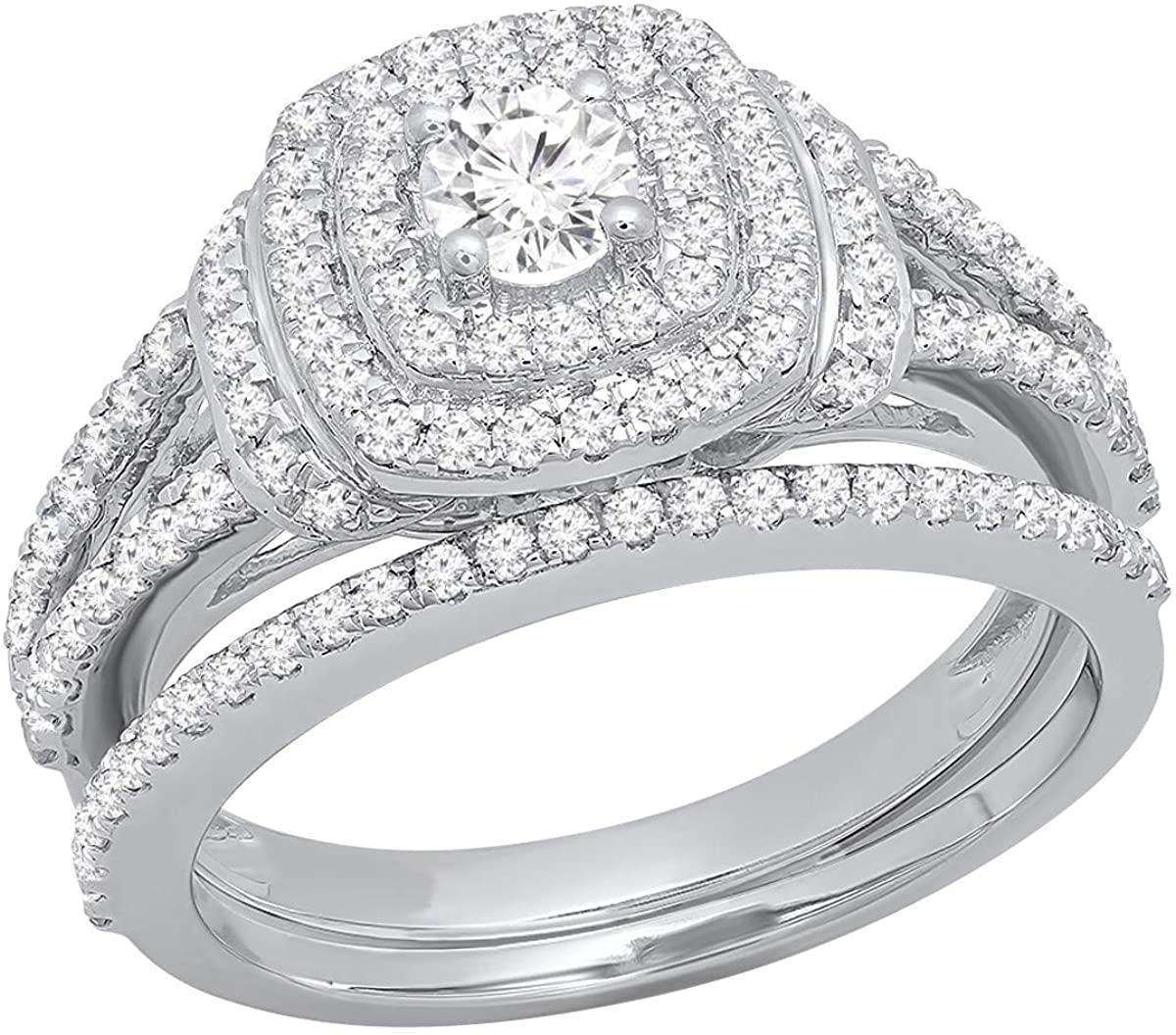 Dazzlingrock Collection 1.00 Carat (Ctw) 14K Gold Round Diamond Ladies Bridal Halo Engagement Ring with Matching Band Set 1 CT