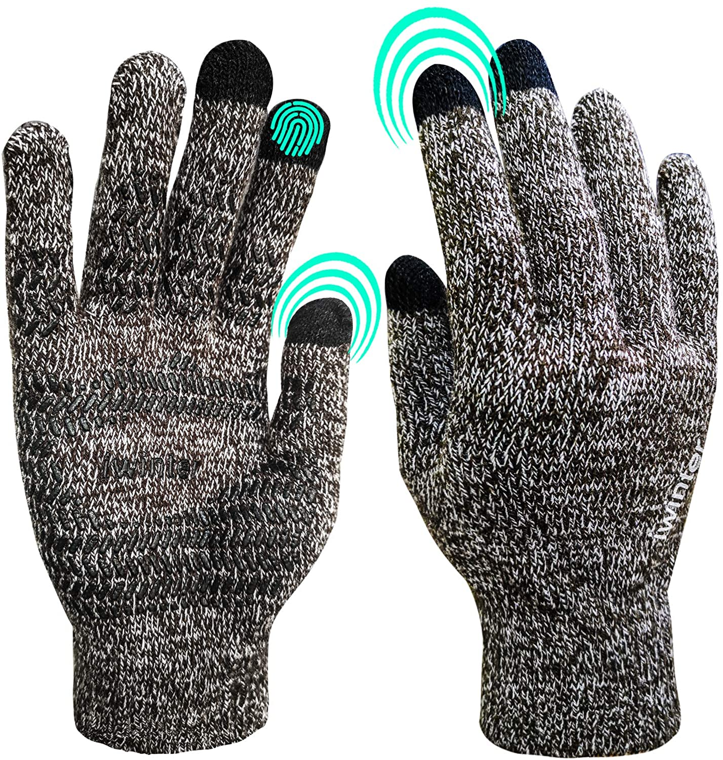 Winter Gloves for Women Men Knitted Touchscreen Gloves, Windproof, Thermal Soft Wool Lining