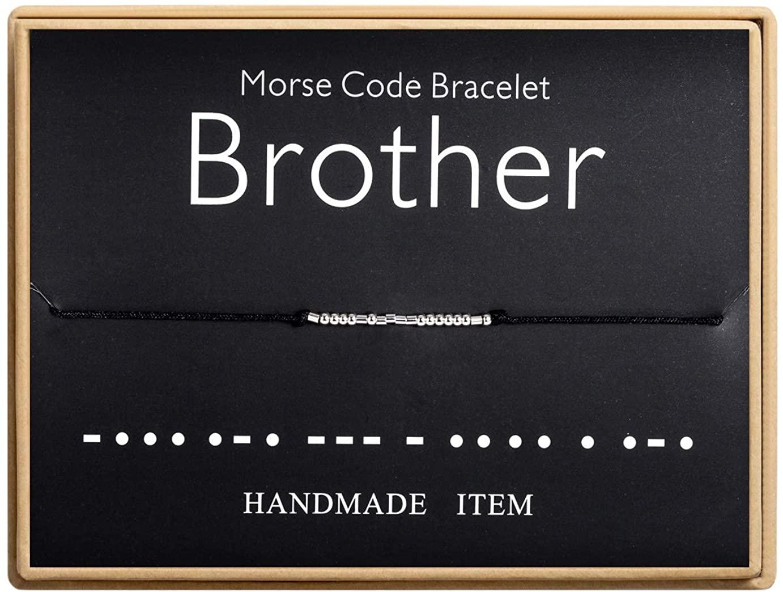 Brother Morse Code Bracelet Handmade Bead Adjustable String Bracelets Inspirational Jewelry for Women