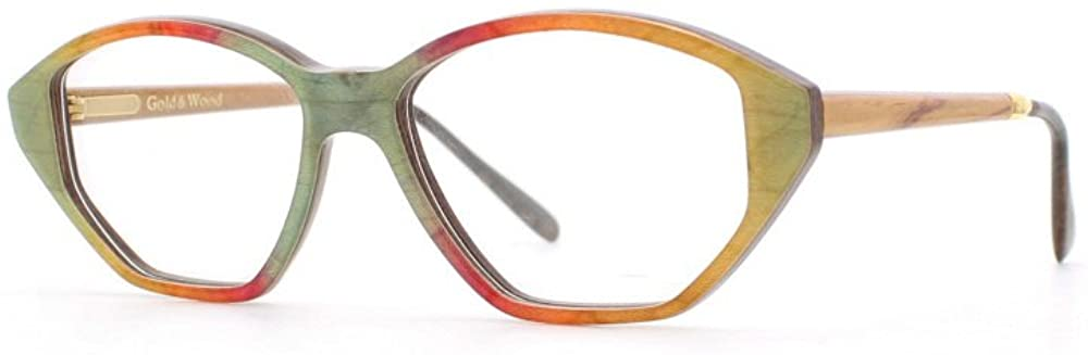 Gold & Wood 1.739 10 Green and Red and Yellow Authentic Women Vintage Eyeglasses Frame