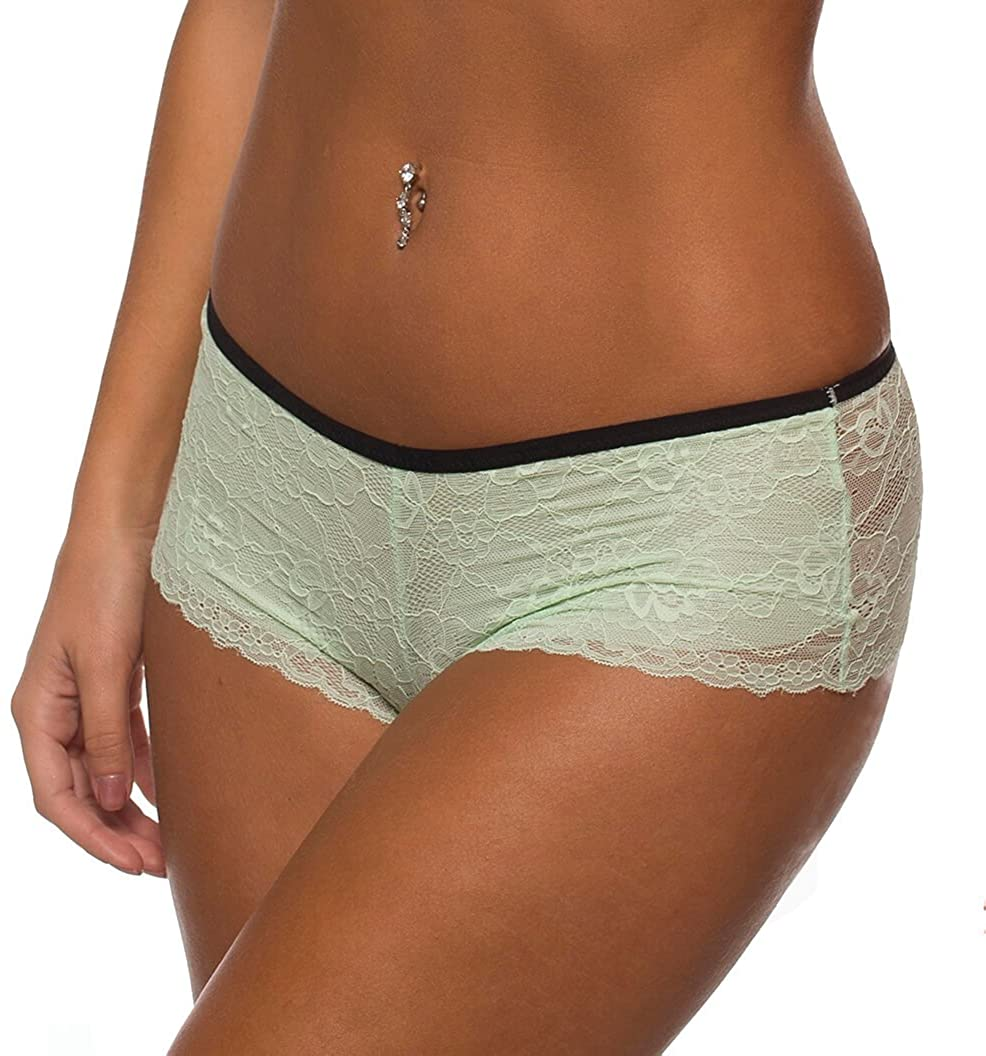 Sexy Green Lace Strappy Brief Crazy Romance Boyshort Panty Lingerie