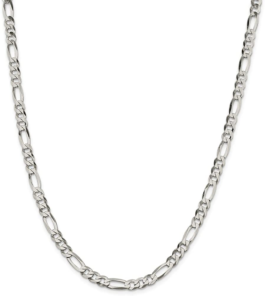 Solid 925 Sterling Silver 5.5mm Polished Flat Figaro Chain Necklace - with Secure Lobster Lock Clasp