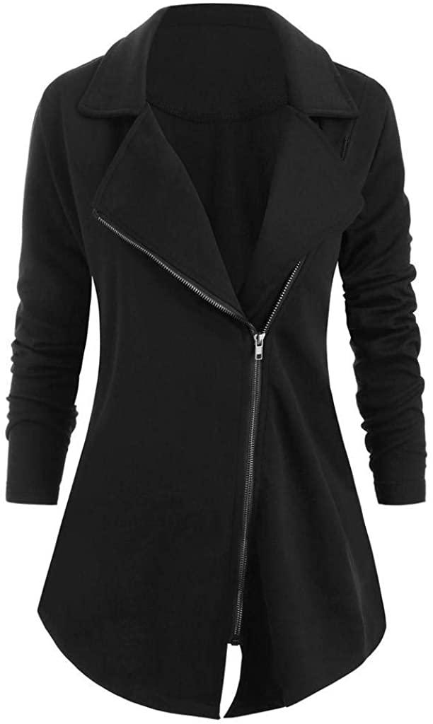terbklf Fashion Women Solid Long Sleeve Notch Zip Up Asymmetrical Coat Lapel Jackets for Women Long Loose Coats Plus Size