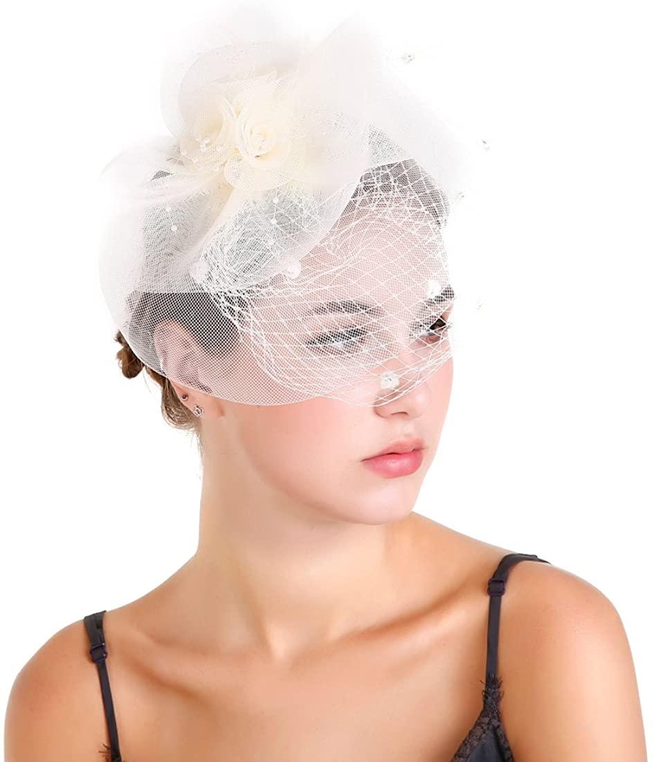 Women Cocktail Tea Party Flower Headwear Birdcage Pillbox Hat Wedding Veil Vintage Fascinator with Feather