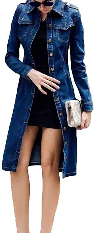 Byhgdnj Women's Single Breasted Denim Outdoor Basic Belted Long Jacket Coat