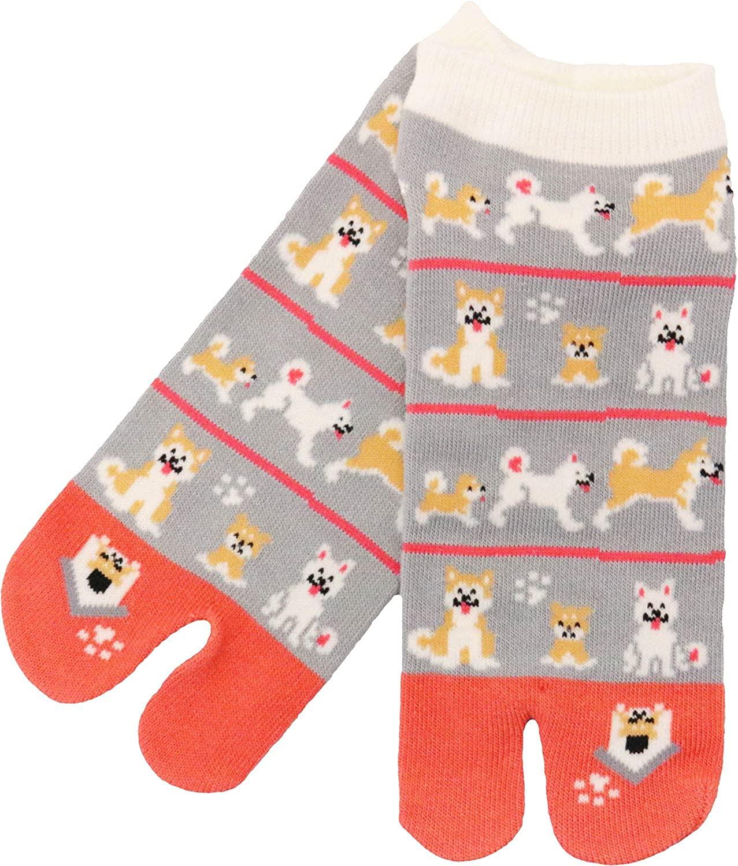 Women's Japanese Pattern 2-Toe Flip-Flop Tabi Ankle Socks