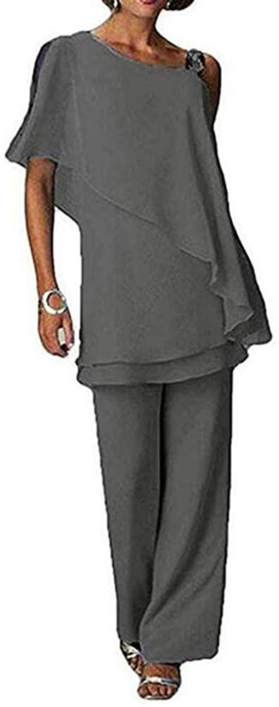 Women Grey 2 Piece Mother of The Bride Pantsuit Half Sleeve Plus Size for Wedding US16