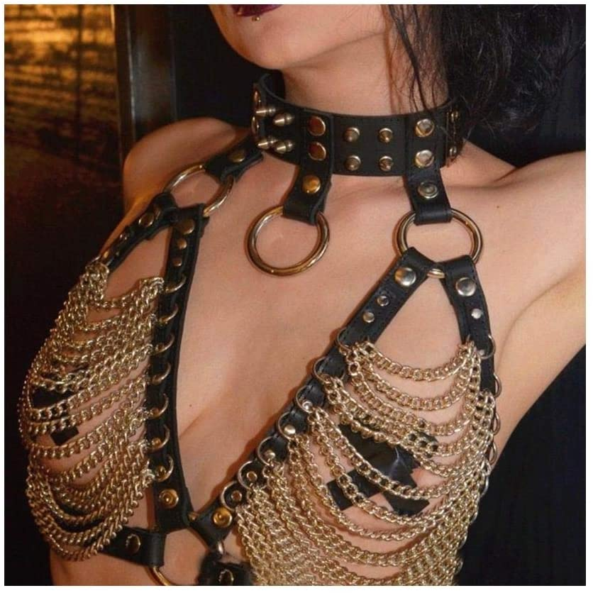 QYXJJ NoQYJ Harness Belt Breasts Dog Collar Necklace Punk Rock Gothic Choker Women Chain Neckband Waist Belt Metal Harness Body Cage (Color : Gold)