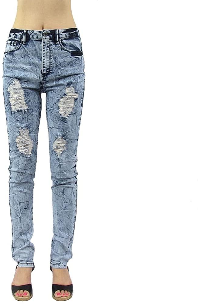 Women's High Waist Acid Wash Distressed Stretch Skinny Denim Jeans