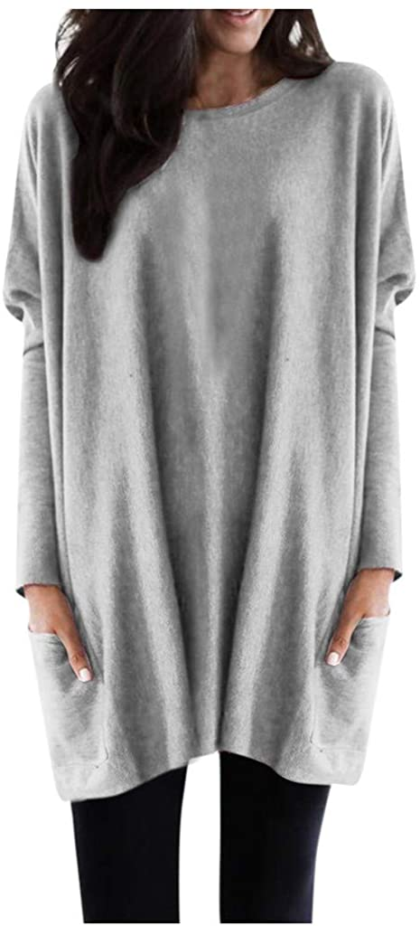 TWGONE Tunic Tops for Leggings for Women Long Sleeve Plus Size with Pockets Solid Warm Sweatshirt Loose Daily Pullover Blouse