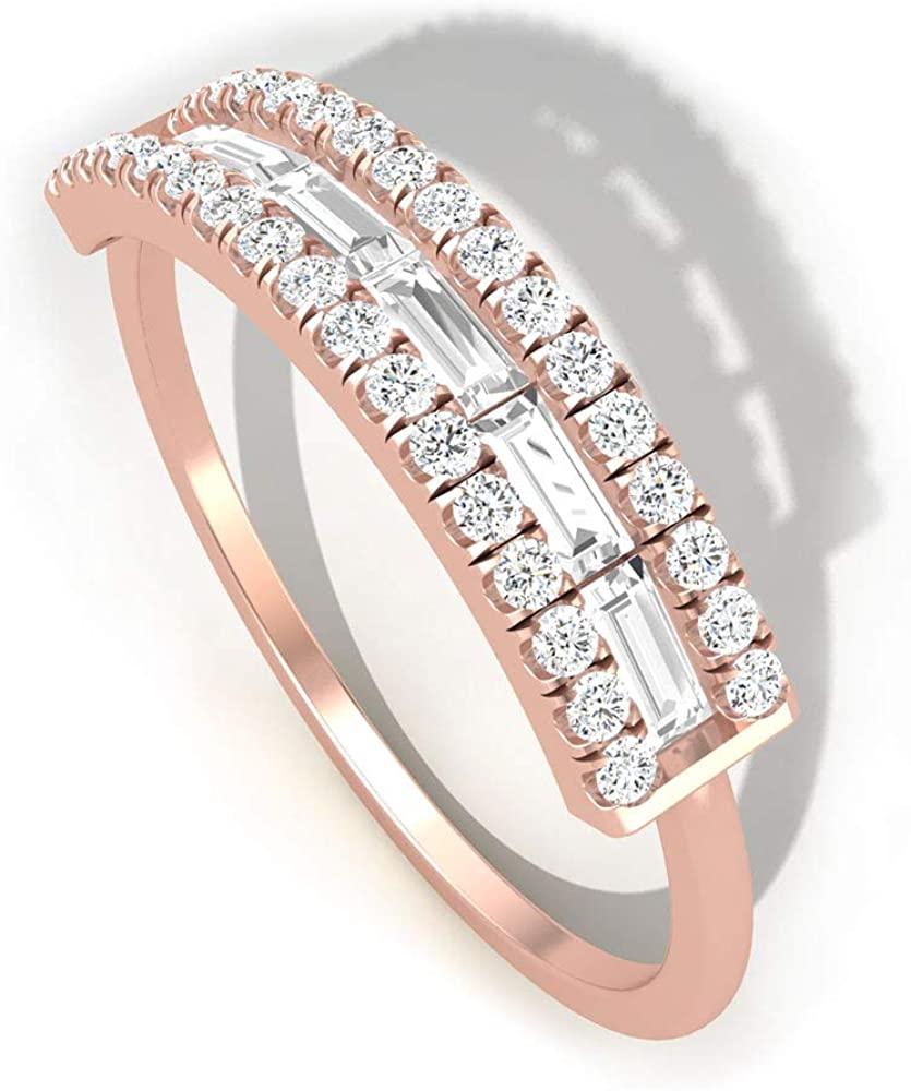 0.51 CT Baguette Round IGI Certified Diamond Anniversary Ring, Art Deco 3 Row Wedding Bridal Ring Band, Women Stacking Promise Matching Ring Set Gifts, 14K Rose Gold, Size:US 6.5