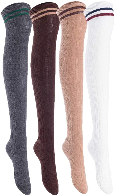 Lian LifeStyle Women's 4 Pairs Adorable Thigh High Cotton Socks L1022 Size 6-9