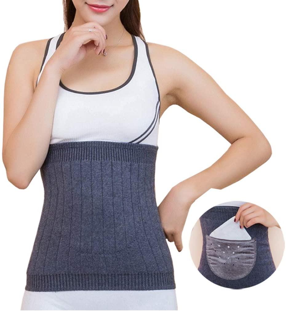 IPENNY Warm Knitted Elastic Abdominal Binder with 2 Body Warmer Sticker Pocket Kidney Warmer Stomach Lumbar Lower Back Support Brace Slim Waist Trimmer Wrap Belt Postpartum Belly Band